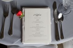 This menu card is a statement of simple elegance.
