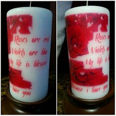 Items similar to Set of THREE personalized candles on Etsy Candle Box, Candle Holders, Personalized Candles, Red Roses, My Etsy Shop, Violets, Mugs, Handmade Gifts, Tableware