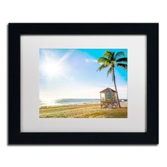 Preston 'Florida Beach Palm' White Matte, Framed Wall Art