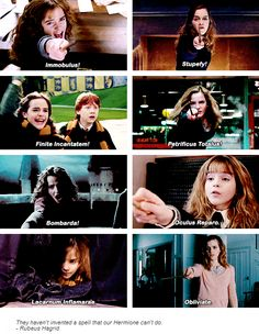 hermione granger - Harry Potter<<<< I read it in the voices. 1) IMMOBULUS 2) stupefy! 3) finite incantatem( with extra pronunciation on the t's) 4) pretrificus totalus( rushed and a little scared) 5) BOMBARDA ( emphasis on the b's) 6) oculus reparo( very confident and rehearsed) 7) lacarnum inflamara ( in a whisper) 8) obliviate ( in that strangeled voice) the end almost killed me