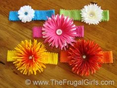 Flower Hair Clips and Headbands Craft Tutorials at TheFrugalGirls.com #baby #hairbows #barrettes