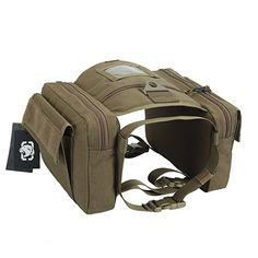 OneTigris Dog Pack Hound Travel Camping Hiking Backpack EDC Saddle Bag Rucksack for Medium & Large Dog (Coyote Brown - 1000D Nylon)