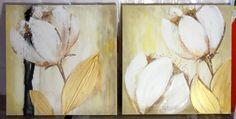 small set of 2 canvas Original art Textured Flower by YueJinArt