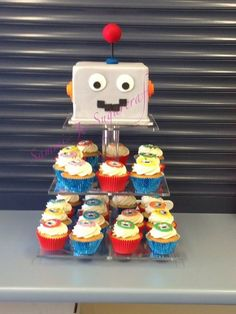 Robot cupcake tower - by Sammi-Jo Sugarcraft @ CakesDecor.com - cake decorating website