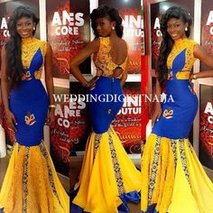 Creative Ankara Yellow and Blue Gown Style . Creative Ankara Yellow and Blue Gown Style African Prom Dresses, African Dresses For Women, African Attire, African Wear, African Fashion Dresses, African Women, African Inspired Fashion, African Print Fashion, Africa Fashion