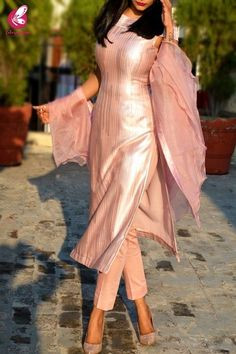 Buy Baby Pink Metallic Padded Pure Crepe Kurti with Baby Pink Cotton Silk Pants and Baby Pink Pure Organza Ruffle Stole Kurti Set Online in India Indian Fashion Dresses, Party Wear Indian Dresses, Dress Indian Style, Indian Designer Outfits, Indian Wedding Outfits, Indian Outfits, Fashion Outfits, Indian Gowns, Pakistani Dresses