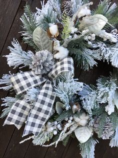 Christmas WreathWinter WreathFarmhouse Winter | Etsy Christmas Wreaths For Front Door, Holiday Wreaths, Door Wreaths, Holiday Crafts, Christmas Crafts, Christmas Decorations, Winter Wreaths, Holiday Decor, Christmas Ideas