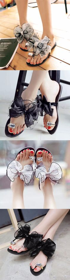 US$11.90 Big Size Butterflyknot Lace Bead Crystal Clip Toe Flat Flip Flops Sandals
