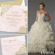 Perfect Pair || Danielle Caprese gown from Kleinfeld Bridal paired with 'Lush Bouquet,' a romantic wedding invitation design from Kleinfeld Paper || http://www.kleinfeldpaper.com/shop/Wedding-Invitations-Lush-Bouquet-P110_2_100_A17_S01_P01