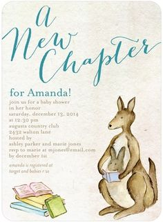 Brand New Chapter - Baby Shower Invitations - simplyput by Ashley Woodman - Deep Turquoise Blue #baby