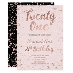 Faux Rose Gold Confetti Blush 21st Birthday Invitation