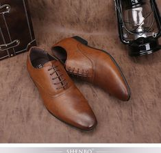 Classic Brown Men High Quality Oxford Shoes For Men Casual Dress wedding Shoes #SHENBO #Oxfords
