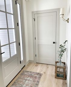 Rustic Home Decor Revere Pewter Trim and Doors White Dove Walls Light Floors.Rustic Home Decor Revere Pewter Trim and Doors White Dove Walls Light Floors House Design, House, Grey Interior Doors, Cheap Home Decor, New Homes, Doors Interior, Farmhouse Interior, Interior Door Colors, House Interior