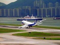 Landing on the old Hong Kong airport in crosswind