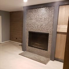 Eden Mosaic Tile Stainless Steel Bricks And Gray Basalt Stone Mosaic Tile - Stone Mosaic Tile, Mosaic Tiles, Fireplace Surrounds, Fireplace Design, Basalt Stone, Tile Installation, Kitchen Photos, Color Tile, Bricks