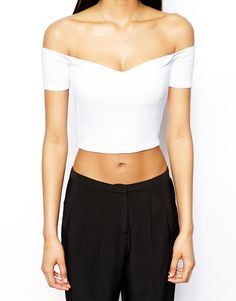 Image 3 ofASOS Crop Top in Textured Fabric with Bardot Sleeves