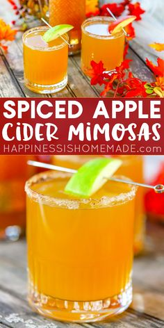 Spiced Apple Cider Mimosa Recipe: Spiced apple cider mimosas are a delicious twist on the classic! These apple cider mimosas are the perfect fall cocktail for brunches, showers, and more! Apple Cider Cocktail, Cider Cocktails, Spiced Apple Cider, Prosecco Cocktails, Spiced Apples, Fun Cocktails, Drinks Alcohol Recipes, Yummy Drinks, Drink Recipes