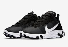 The Nike React Element 55 Black White (Style Code  comes in a Black textile  upper with White detailing atop a React foam cushioned sole. c6da27c3a