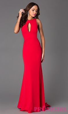 Floor Length Red Sleeveless Dress with Drape Back at PromGirl.com