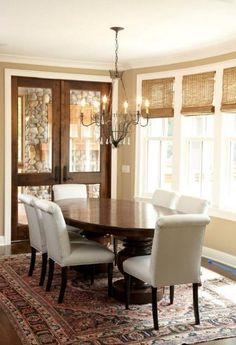 Stained Doors With White Trim Design Ideas, Pictures, Remodel and Decor Tan Walls, Dark Wood Trim, Decor, Dining Room Design, Traditional Dining Room, Interior, Wood Doors White Trim, Home Decor, House Interior