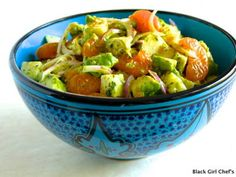 Avocado, Mandarin Orange & Jicama Salad With Key Lime Dressing. Have 1 cup of this tasty salad alongside a protein and some fresh greens to make a meal! (TG)