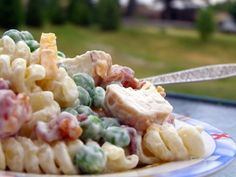 Ranch Chicken and Bacon Pasta Salad--mayo, ranch dressing, veggies, chicken, bacon, pasta, shredded cheese & salt & pepper. YUMMO kids!
