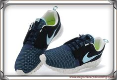 scarpe da calcetto New Navy Blu/Coal Nero/Sail Bianco/Lake Blu Nike Roshe Run NM BR 3M 644425-030 Uomo