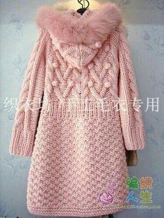Crochet Blouses – Knitting world and crochet Crochet Coat, Knitted Coat, Crochet Clothes, Knitting Designs, Knitting Patterns Free, Baby Knitting, Coat Patterns, Knit Jacket, Hooded Jacket