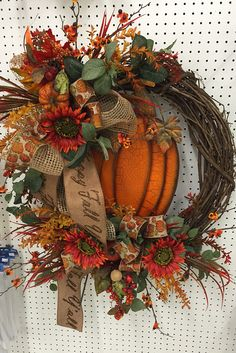 It's Fall Y'all pumpkin wreath made by the talented designers @ Trees n Trends.www.treesntrends.com/specials Fall Mesh Wreaths, Autumn Wreaths, Holiday Wreaths, Door Wreaths, Grapevine Wreath, Summer Flower Arrangements, Fall Arrangements, Fall Yard Decor, Fall Wreath Tutorial