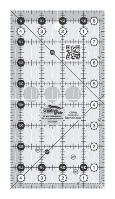 Easy to read black & white markings. One inch grid with inch and inch increments. Use numerical white dots and inch grip sides to cut. Quilting Hoops, Quilting Rulers, Quilting Templates, Quilt Patterns, Cross Hatching, Half Square Triangles, Mark Cross, Coordinating Fabrics, Black Dots