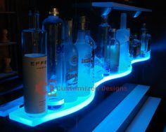 Floating Bar Shelves With Lights - Grottepastenaecollepardo Glass Bar Shelves, Wine Glass Shelf, Floating Glass Shelves, Man Cave Items, Bottle Display, Living Room Shelves, Led Light Bars, Leaded Glass, Bar Lighting