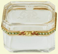 Fabergé rectangular straight sided box with canted corners of rock crystal, lid…