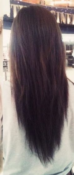 Long V shaped hair... LOVE the vcut. Beautiful straight or with waves