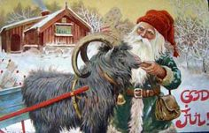 century Christmas art by Swedish artist Jenny Nyström of a tomte with the julbock, aka Yule Goat - God Jul! Norwegian Christmas, Old Christmas, Christmas Gnome, Vintage Christmas Cards, Scandinavian Christmas, Christmas Images, Christmas Postcards, Yule Goat, Auryn