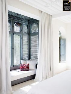 bedroom with window seat. Is there a way for the shades to provide insu. bedroom with window seat. Is there a way for the shades to provide insu. The Prettiest Hotel in Morocco Moroccan Bedroom, Moroccan Interiors, Home Decor Bedroom, Bedroom Ideas, Bedroom Nook, Bay Window Bedroom, Bed Nook, Bedroom Designs, Bedroom Furniture