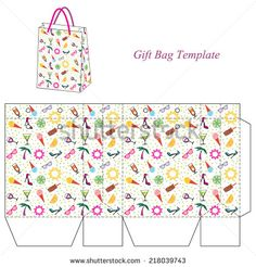 Bag template with seamless summer pattern - stock vector