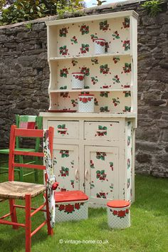 Vintage Home - Strawberries and Cream 1930s Dresser.  love the canisters!!!