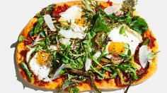 Fried Egg Flatbreads with Nduja and Mustard Greens Recipe | Bon Appetit
