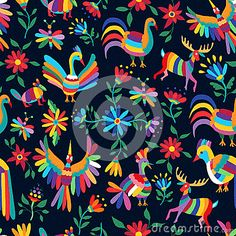 Colorful spring pattern of wild animal and flower