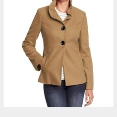 Old Navy Pea Coat Dark royal blue with black buttons and ruffled collar Old Navy Jackets & Coats Pea Coats
