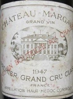 French Wine Label Chateau Margaux 1947