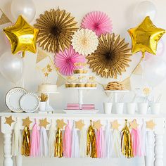 The complete pink and gold Twinkle Twinkle Little Star party in a box is here! These stary decorations can help you build a beautiful twinkle twinkle little star party. Bash Kits has combined a complete collection of unique items into a single party theme package. This listing is NOT a