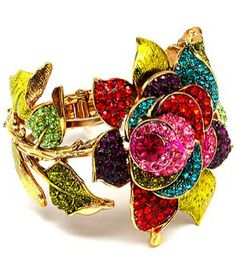 Flower Bangle with multicolor stones