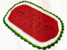 tapete em croche melancia em croche com receita