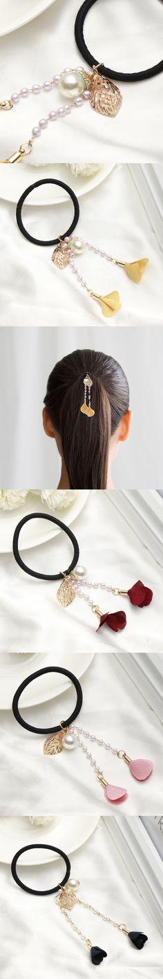 1PC Fashion Flowers Tassel Pearls Elstic Hair Rope Ponytail Rubber Band Headwear Hairband Scrunchy Hair Band Accessories