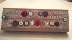 Eclectic Burlap & Lace Button Merry Christmas wall sign