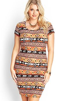 Southwestern Print Bodycon Dress | FOREVER21 PLUS - 2000085481