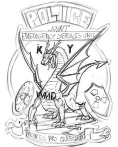 #design #sketch: #dragon #coatofarms for #police dept. #illustration #mascot #drawing @CorelPainter @wacom #Cintiq