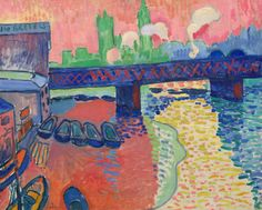 Derain, André, Charing Cross Bridge, London 19 - oil on canvas, overall: 80.3 x 100.3 cm (31 5/8 x 39 1/2 in.)