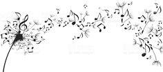 Notas musicais flutuando como sementes de dente-de-Leão vetor e ilustração royalty-free royalty-free